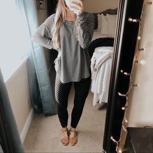F21 Black & White Striped Long Sleeve Tee